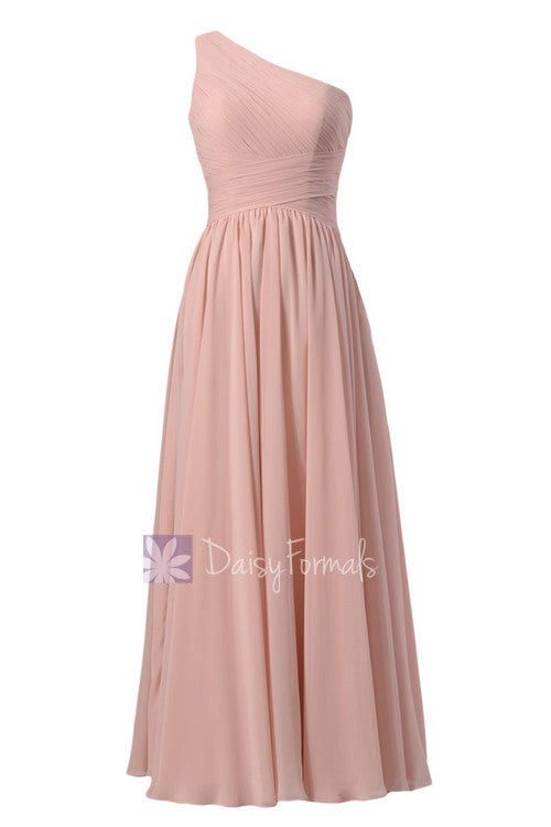 Floor length one-shoulder discount linen bridal party formal dress(bm351l)