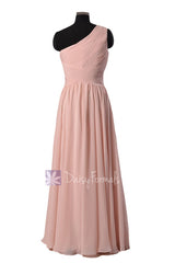 Floor length one-shoulder discount linen bridal party formal dresses(bm351l)
