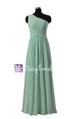 Mint chiffon dress affordable long mint green bridesmaid dress chiffon party dress(bm351l)