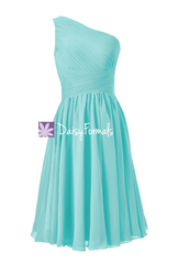 Tiffany blue one shoulder affordable bridesmaid dress criss cross beach wedding party dress (bm351)