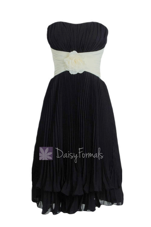 Black cream short bridesmaid dress,layered hem black bridal party dress online (bm484)