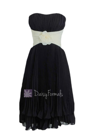 Black Cream Short Bridesmaid Dress,Layered Hem Black Bridal Party Dress (BM484)
