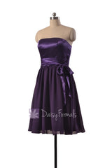 Attractive knee length purple party dress strapless prom dresses w/satin sash(bm3727)