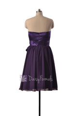 Attractive Knee Length Purple Party Dress Strapless Prom Dress W/Satin Sash(BM3727)