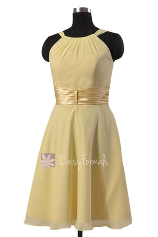 Chic Short Chiffon Wedding Dress Light Yellow Bridesmaid Dress W/Wide Sash(BM3728)