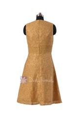 Deep v-neck lace formal vintage short yellow evening dresses(bm3730)