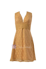 Deep v-neck lace formal vintage short yellow evening dress(bm3730)
