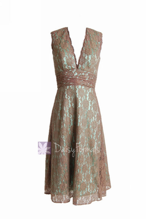 Tea length pale brown bridesmaid dress vintage lace formal dress w/v-neck(bm3730t)