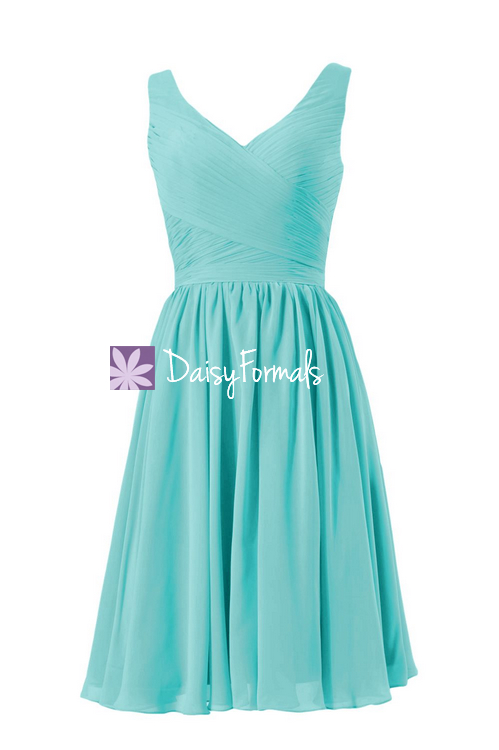 Elegance tiffany blue bridesmaid dress v neckline affordable bridesmaid dress (bm5196s)