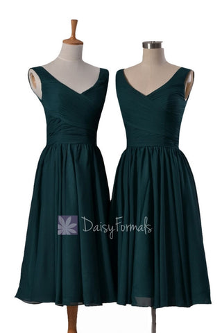 In stock,Ready to Ship - Short Deep V-Neckline Chiffon Bridesmaid Dress (BM5196S) - (Rich Peacock)
