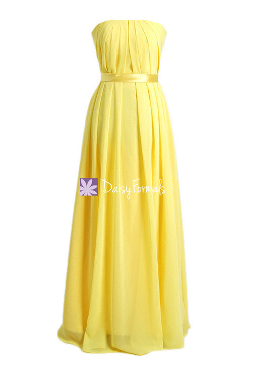 Strapless chiffon bridesmaid dress online full length yellow formal dress(bm4031)