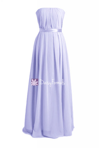 Custom Long Lavender Chiffon Bridesmaids Dress Strapless Junior Dress (FL4031)