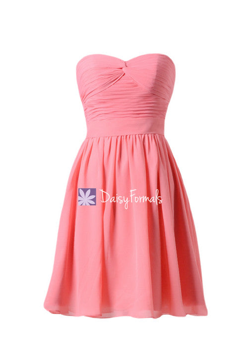 Light coral latest bridesmaids dress cocktail chiffon party dress birthday party dress (bm4044)