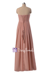 Dusty rose pink chiffon dress long quartz bridesmaid dress nude bridal party dresses (bm4046l)
