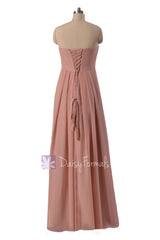 Gracious long dustry rose chiffon beach party dress strapless quartz bridesmaid dresses(bm4046)