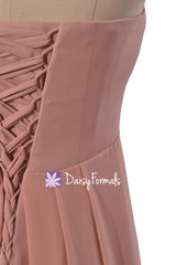 Dusty Rose Pink Chiffon Dress Long Quartz Bridesmaid Dress Nude Bridal Party Dress (BM4046L)