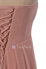 Gracious Long Dustry Rose Chiffon Beach Party Dress Strapless Quartz Bridesmaid Dress(BM4046)