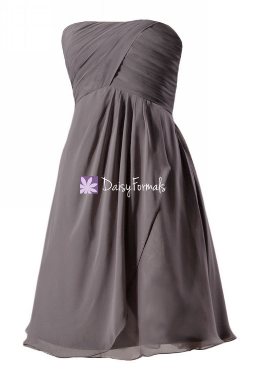 Elephant grey short knee bridesmaids dress short chiffon beach wedding formal party gown (bm4046s)