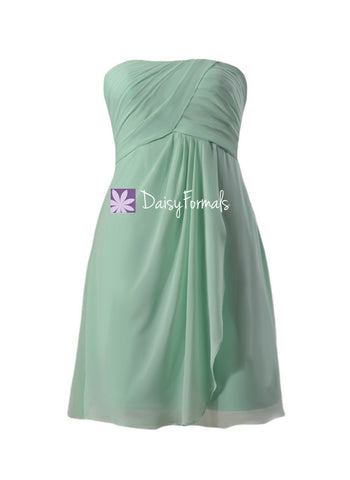 Beautiful Mint Chiffon Bridesmaids Dress Short Empire Chiffon Party Dress (BM4046S)
