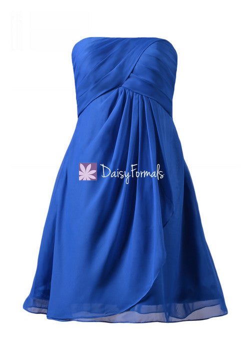Plus size bridesmaid dress dark blue knee length special occasion dress sapphire blue chiffon party dress (bm4046s)