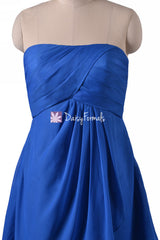 Plus Size Bridesmaid Dress Dark Blue Knee Length Dress Sapphire Blue Chiffon Party Dress (BM4046S)