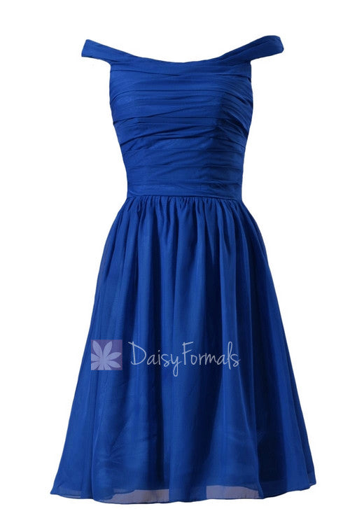 Sapphire chiffon bridesmaid dress knee length off shoulder discount formal dress(bm4080)