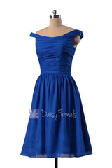 Sapphire chiffon bridesmaid dress knee length off shoulder discount formal dresses(bm4080)