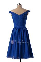 Sapphire Chiffon Bridesmaid Dress Knee Length Off Shoulder Formal Dress(BM4080)