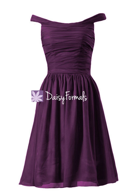 Off-shoulder discount bridesmaid dress byzantium knee length prom dress party dress (bm4080)