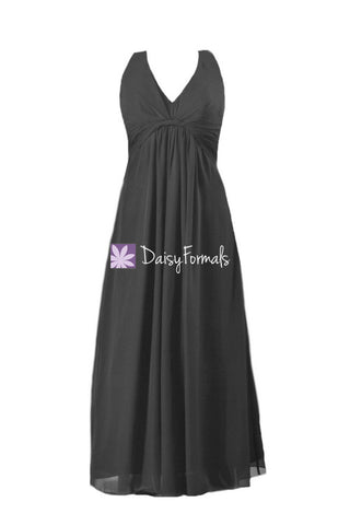Black Chiffon Dress Long Halter Chiffon Evening Dress Women Party Dress (BM414)
