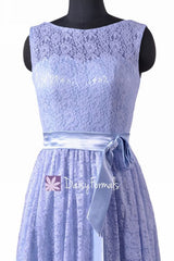 Short Periwinkle Lace Party Dress Vintage Lace Formal Dress Sleeveless Lace Dress (BM43225)