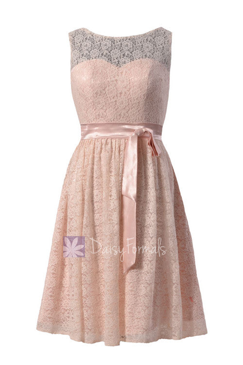 Stunning blush pink lace knee length bridal party dress w/illusion neckline(bm43225)