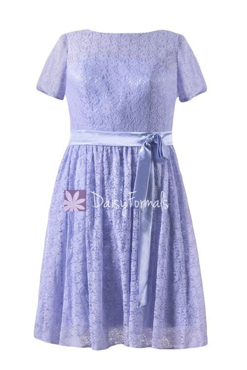 Lavender Lace Party Dress Floral Lavender Modest Prom Dress Lace Modest Party Dress (BM43225AL)