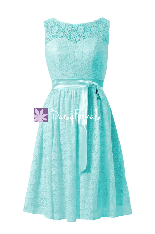 Light aqua lace bridesmaid dress scoop neckline lace party dress formal dress (bm43225)