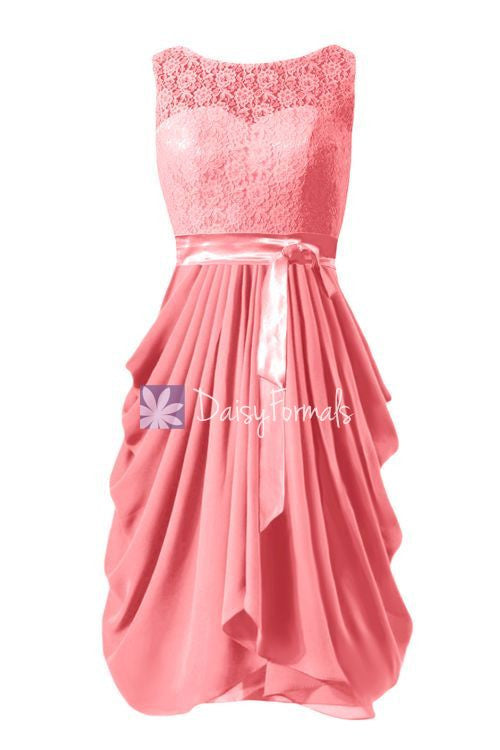 Coral Lace Party Dress Short Light Coral Bridesmaids Dress Chiffon Party Dress (BM43231)