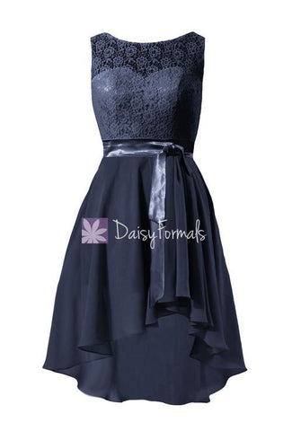 Chic Lace Party Dress Navy Blue High Low Chiffon Formal Dress Bridesmaids Dress (BM43228)
