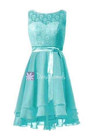 Beautiful Aqua Blue Lace Party Dress Turquoise High Low Formal Dress Bridesmaids Dress (BM43230)