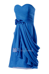 Royal blue short sweatheart affordable bridesmaid formal dress w/ handmade flowers(bm437)