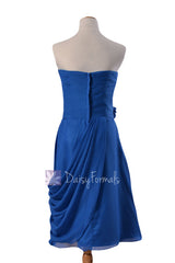 Royal blue short sweatheart affordable bridesmaid formal dresses w/ handmade flowers(bm437)
