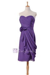 Short amethyst sweatheart bridesmaid chiffon vivid purple prom dresses w/ draped overlay(bm437)
