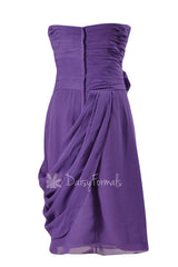 Short Amethyst Sweatheart Bridesmaid Chiffon Vivid Purple Prom Dress w/ Draped Overlay(BM437)