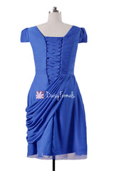 Modest V neckline Party Dress Modest Bridesmaids Dress Royal Blue Modest Prom Dress (BM437A)