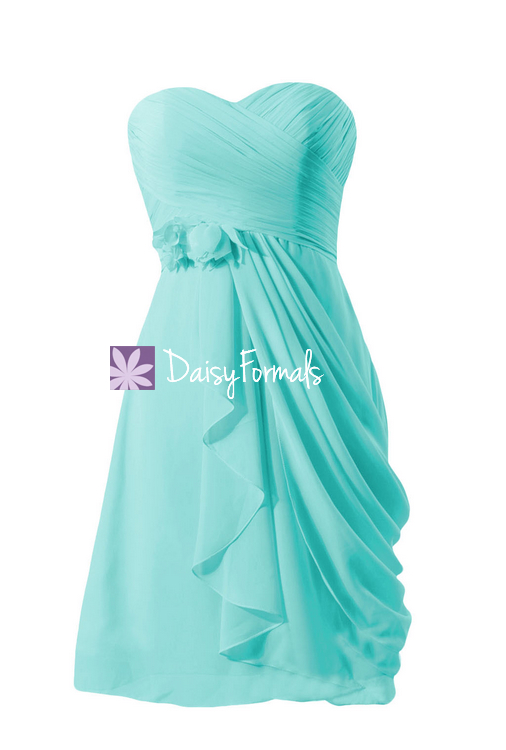 Modern sweetheart bridesmaid dress asymmetrical electrical blue party dress (bm437)