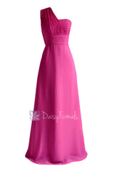Hot pink long floor length one shoulder chiffon bridesmaid dress evening dress(bm452l)