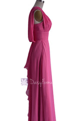 Hot pink long floor length one shoulder chiffon bridesmaid dress evening dresses(bm452l)