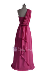 Hot Pink Floor Length One Shoulder Chiffon Bridesmaid Dress Evening Dress(BM452L)