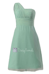 Short vintage party dress mint one shoulder chiffon bridesmaid dress cocktail dress(bm452)