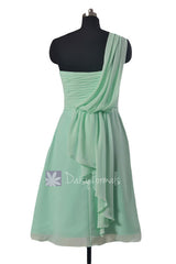 Short vintage party dress mint one shoulder chiffon bridesmaid dress cocktail dresses(bm452)