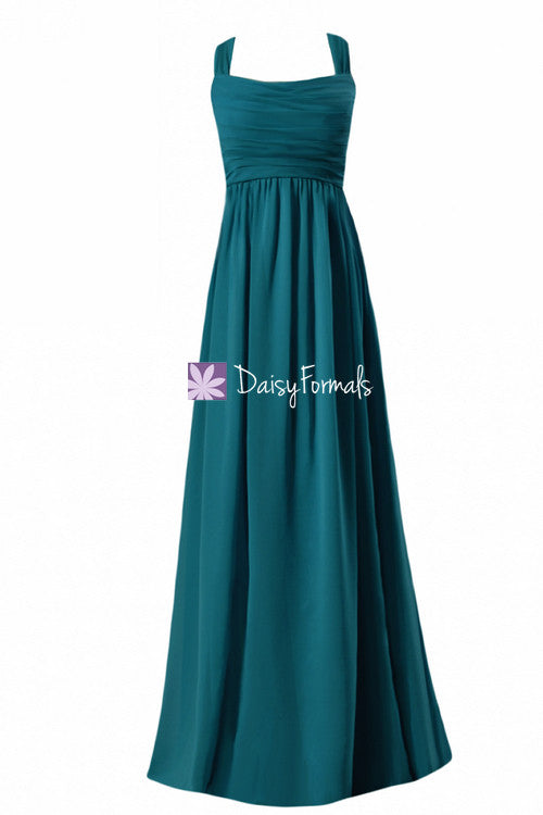 Rich teal unique chiffon bridesmaids dress long teal halter neckline party dress formal dress(bm4755)