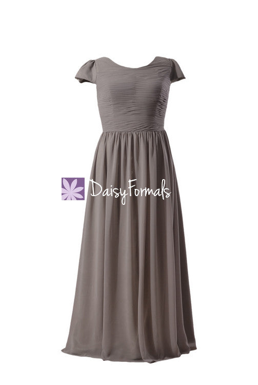 Light warm grey modest evening dress formal wears plus bridesmaid dress (bmp760)